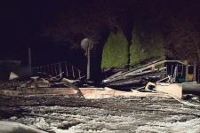 A fire destroyed a home near Grandora on Tuesday
