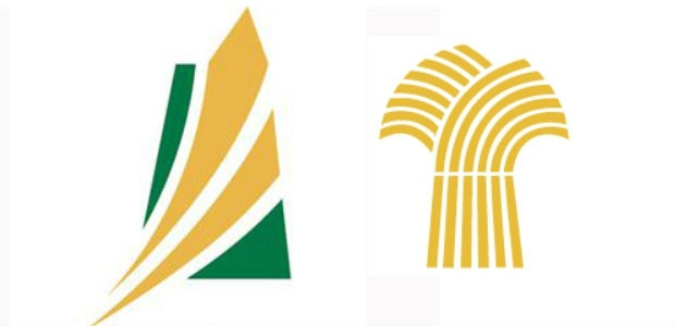 The new logo features two golden lines swooshing over a green provincial background.