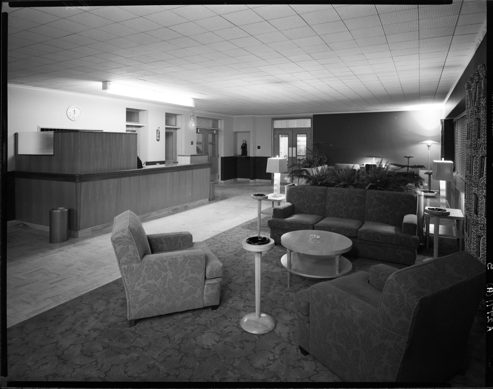 Photograph A-2771 courtesy of the Saskatoon Public Library - Local History Room. The interior of the Patricia Hotel.
