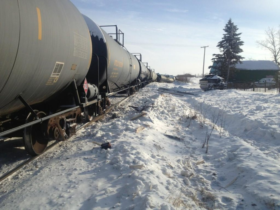 A train derailed near Paynton Thursday morning after colliding with a road grader near Paynton. The driver of the grader was killed. Photo submitted by Heather Honoroski.