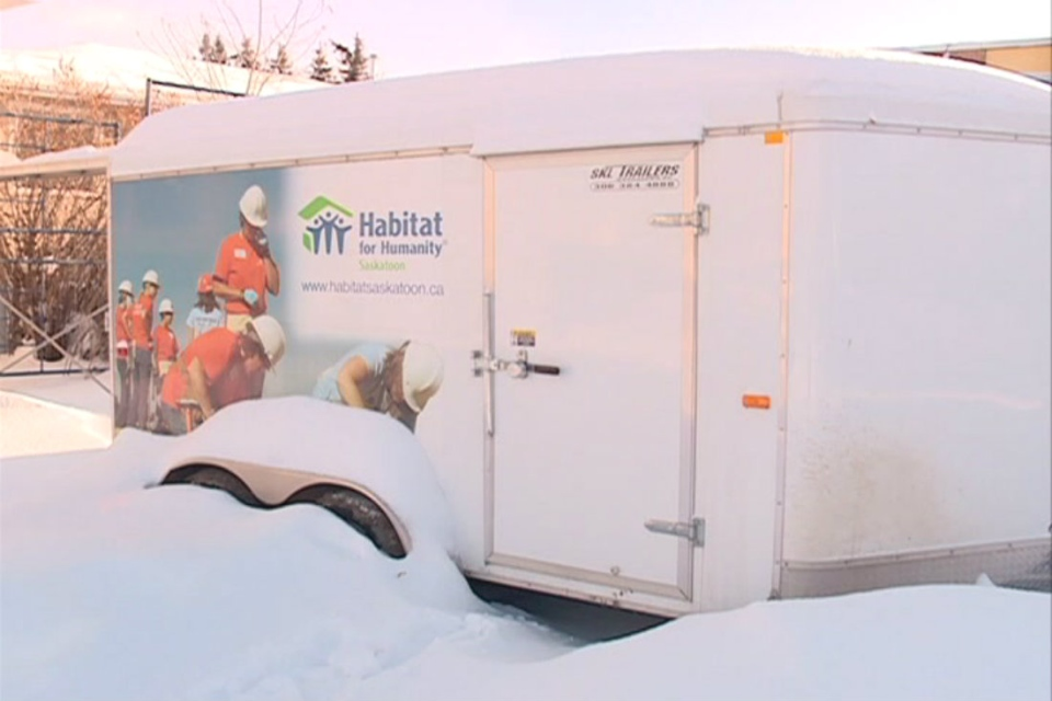 A trailer like the one above was stolen from a Habitat for Humanity build. It had thousands of dollars worth of gear needed for the construction. It did not have the decals.