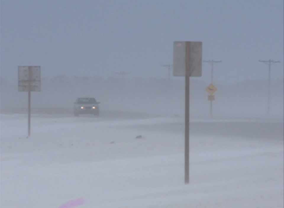 This was the scene on a highway near Saskatoon Thursday morning. Several highways were closed and there were several vehicles stuck in the snow.
