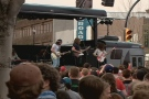 The Sheepdogs performed Monday on Broadway Avenue as part of the Red Bull Tour Bus Hometown Tour.