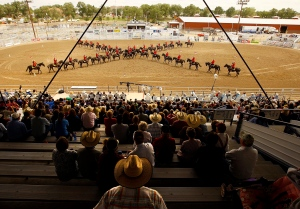 The Royal Canadian Mounted Police perform their Musical Ride at the Wyoming State Fair in Douglas, Wyo., Thursday, Aug. 16, 2012. (The Casper Star-Tribune / Dan Cepeda)