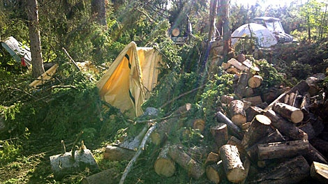 A look at some of the damage done at camping areas around Big River.