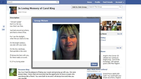 A Facebook group in memory of Carol King is seen in this screen image taken Tuesday.