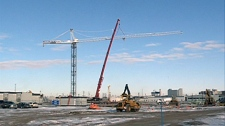 A tower crane has been set up over the construction site of Saskatoon's new police station. The $100 million station is being built near the 25th Street extension in the north downtown area.