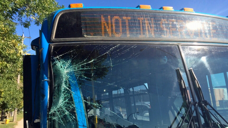 A nine-year-old boy stole and crashed a Saskatoon city bus into another bus Saturday morning, according to police.