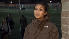 B.C. footballer Michelle Cheong says she's conflicted about the opportunities presented by Abbotsford's new Lingerie Football League team. Feb. 21, 2012. (CTV)