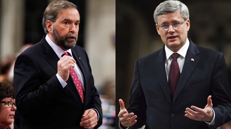 NDP Leader Tom Mulcair, left, and Prime Minister Stephen Harper are seen in this combination photo. (Adrian Wyld / THE CANADIAN PRESS)