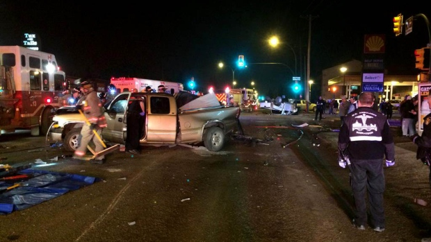 Saskatoon emergency crews were called to a five-vehicle crash at the corner of 22nd Street and Avenue P just before 12:30 a.m. Saturday.