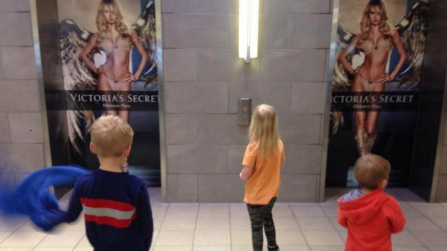 A Saskatoon woman recently posted this image as well as a letter to Midtown Plaza on Facebook after she says her niece told her she was uncomfortable by a Victoria's Secret ad displayed at the mall. (Photo supplied)