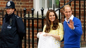 Britain's Prince William and Kate, Duchess of Cambridge and their newborn baby princess, pose for the media as they leave St. Mary's Hospital's exclusive Lindo Wing, London, Saturday, May 2, 2015. (AP / Kirsty Wigglesworth)