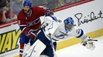 Montreal Canadiens winger Brandon Prust runs into Tampa Bay Lightning goalie Ben Bishop during third period of Game 2 NHL second round playoff hockey action in Montreal on May 3, 2015. (Ryan Remiorz / THE CANADIAN PRESS)