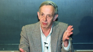 Princeton University professor John Nash speaks during a news conference at the school in this Oct. 11, 1994 file photo. (AP / Charles Rex Arbogast)