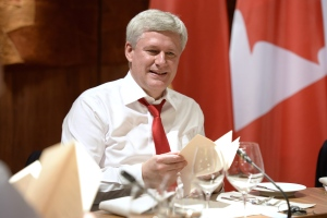 Canadian Prime Minister Stephen Harper looks on during dinner at the G7 meeting at Schloss Elmau near Garmisch, Germany on Sunday, June 7, 2015. (Adrian Wyld / THE CANADIAN PRESS)