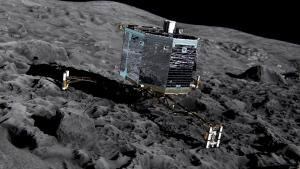 This undated artist impression by ESA/ATG medialab, publicly provided by the European Space Agency, ESA, shows Rosetta's lander Philae (front view) on the surface of comet 67P/Churyumov-Gerasimenko.