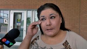 Maggie Lafond speaks to media outside Saskatoon Provincial Court.