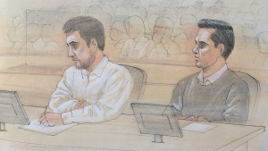 Dellen Millard, left, and Mark Smich on the first day of their trial in the murder of Tim Bosma at John Sopinka Courthouse in Hamilton, Ont. on Monday, Feb. 1, 2016. (John Mantha / CTV News)