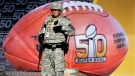 Military personnel stands guard out Levi's Stadium before the NFL Super Bowl 50 football game between the Denver Broncos and the Carolina Panthers,Sunday, Feb. 7, 2016, in Santa Clara, Calif. (Matt Slocum / AP)