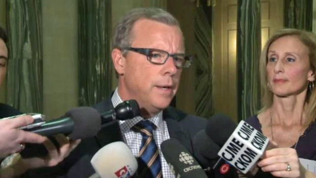 Saskatchewan Premier Brad Wall speaks to reporters at the Legislative Building on Monday, Feb. 8, 2016.