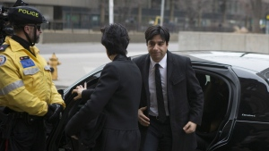 Former CBC radio host Jian Ghomeshi arrives at a Toronto court for day five of his trial on Monday, Feb. 8, 2016. (Chris Young / THE CANADIAN PRESS)