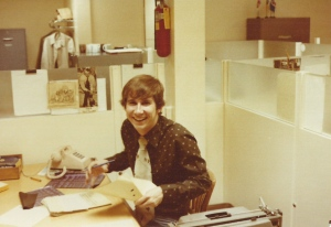 Rob MacDonald in the CFQC newsroom in 1979. (Photo: Bryan Cox)