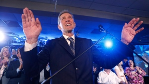 Manitoba PC Leader Brian Pallister speaks at his party's election victory party in Winnipeg, Tuesday, April 19, 2016.  (THE CANADIAN PRESS/John Woods)