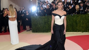 """Emma Watson arrives at The Metropolitan Museum of Art Costume Institute Benefit Gala, celebrating the opening of """"Manus x Machina: Fashion in an Age of Technology"""" on Monday, May 2, 2016, in New York. (Photo by Charles Sykes / Invision / AP)"""
