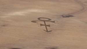 In this Friday, April 29, 2016 photo provided by Gene Hanson, a corn field shows the symbol of the late megastar Prince in Edgeley, N.D. (Gene Hanson via AP)