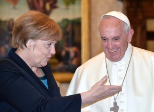 German Chancellor Angela Merkel, left, meets with Pope Francis on the occasion of their private audience, at the Vatican, Friday, May 6, 2016. (Alberto Pizzoli/Pool Photo via AP)