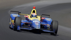 Alexander Rossi drives through turn one during the final practice session for the Indianapolis 500 auto race at Indianapolis Motor Speedway in Indianapolis, Friday, May 27, 2016. (AP / Michael Conroy)