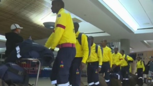 Firefighters from South Africa arrive at Edmonton's airport on Sunday night. (CTV Edmonton)