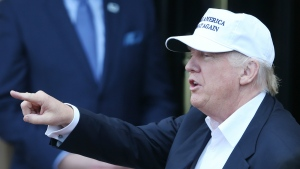 Republican presidential candidate Donald Trump speaks as he arrives at his revamped Trump Turnberry golf course in Turnberry, Scotland on June 24, 2016 file photo. (Andrew Milligan / PA)