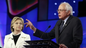 Democratic presidential candidate Sen. Bernie Sanders, I-V.t, right, speaks as Hillary Clinton listens during the CNN Democratic Presidential Primary Debate at the Brooklyn Navy Yard in New York on April 14, 2016. (AP / Seth Wenig)