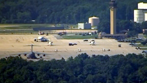 Joint Base Andrews on lockdown following reports of an active shooter, Thursday, June 30, 2016.