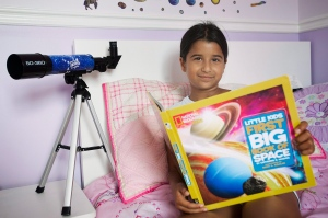 Eight year old space enthusiast Sahana Khatri poses for a portrait at her home in Vaudreuil-Dorion, Que., west of Montreal on Saturday, July 23, 2016. (Graham Hughes / THE CANADIAN PRESS)