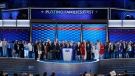 New York State Senator Adriano Espaillat is joined on state by New York legislators during the first day of the Democratic National Convention in Philadelphia , Monday, July 25, 2016. (AP / J. Scott Applewhite)