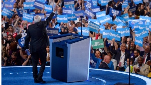 Former Democratic presidential candidate, Sen. Bernie Sanders, I-Vt., waves to supporters during the first day of the Democratic National Convention in Philadelphia , Monday, July 25, 2016. (AP / Mark J. Terrill)