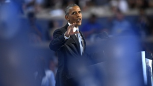 President Barack Obama speaks during the third day of the Democratic National Convention in Philadelphia on Wednesday, July 27, 2016. (AP / Mark J. Terrill)