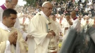 Pope Francis is seen moments before he missed a step and fell during a mass in Czestochowa, Poland, Thursday, July 28, 2016.