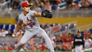 St. Louis Cardinals' Seung Hwan Oh, of South Korea, winds up during the ninth inning of a baseball game against the Miami Marlins, Thursday, July 28, 2016, in Miami. The Cardinals defeated the Marlins 5-4. (AP / Wilfredo Lee)
