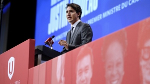 Prime Minister Justin Trudeau addresses the Unifor Convention in Ottawa on Wednesday, Aug. 24, 2016. (Justin Tang / THE CANADIAN PRESS)