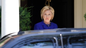 Democratic presidential candidate Hillary Clinton departs her Washington home, on Friday, June 10, 2016. (AP Photo/Paul Holston)