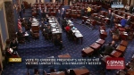 The floor of the Senate on Capitol Hill in Washington in an image from video, on Sept. 28, 2016. (C-SPAN2 via AP)