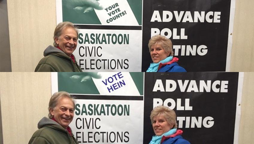 Two pictures are seen here in this dual image. The top photo shows a picture posted to Twitter by Kathy Allen after her and her husband voted in the Saskatoon election advanced polls. The bottom photo shows the same picture after it was altered by mayoral candidate Devon Hein. (Twitter/@kathysaskie/@hein4mayor)
