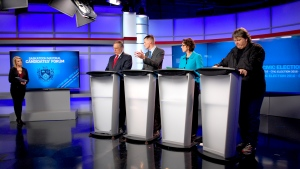 Saskatoon's mayoral candidates (left to right) Don Atchison, Charlie Clark, Kelley Moore and Devon Hein respond to questions during a forum on CTV News on Thursday, Oct. 20, 2016. (Kevin Menz/CTV Saskatoon)