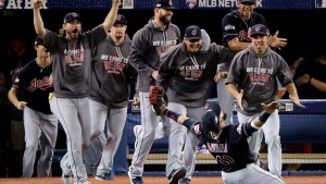 Cleveland Indians celebrate advancing to the World Series, on Oct. 19, 2016. (Charlie Riedel / AP)