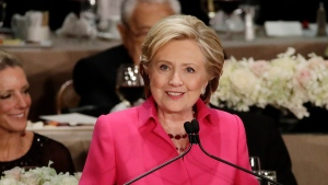 Democratic presidential candidate Hillary Clinton speaks at the 71st Annual Alfred E. Smith Memorial Foundation Dinner Thursday, Oct. 20, 2016, in New York. (Frank Franklin II/AP)