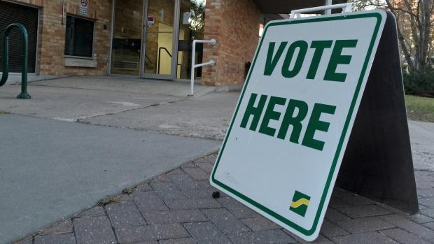 A voting sign sits outside Saskatoon City Hall on Friday, Oct. 21, 2016 during advance polling for the city election. (Jim Barnsley/CTV Saskatoon)